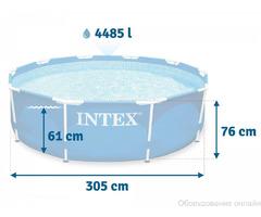 Каркасный бассейн Metal Frame 305х76см, 4485л, фильтр-насос 1250л/ч, Intex, 28202 фото