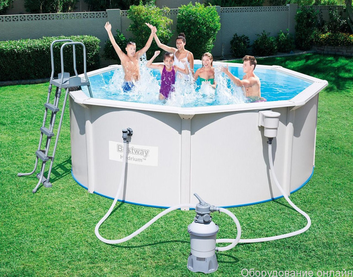 Фото объявления Стальной бассейн Hydrium Pool Set 300х120 см, 7630 л, песоч. фильтр-насос 3028л/ч, лестн.